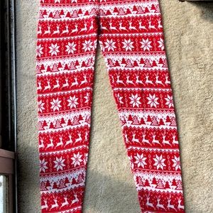 Christmas Red and White pattern leggings